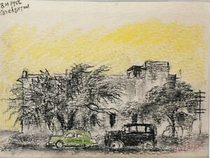 "David Burliuk Drawing: ""Buildings with cars"""