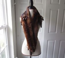 One Size Vintage 1950s Brown Mink Fur Scarf Shawl Wrap Womens