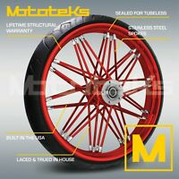 21X3.5 FAT SPOKE NOVA WHEEL CANDY RED FOR HARLEY TOURING BAGGER W/ TIRE MOUNTED