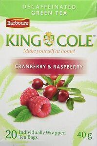 King Cole Decaffeinated Cranberry Raspberry Green Tea 20 Bags 40g Canada