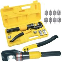 Hydraulic Crimper Crimping Tool/w 9 Dies Wire Battery Cable Lug Terminal 8 Ton