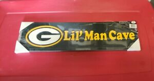 """Green Bay Packers Lil' man cave wooden sign Plaque Frame 23""""x 7"""""""