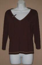 Womens Size Medium 3/4 Long Sleeve Fall Fashion Brown Casual Knit Top Shirt
