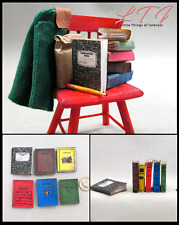 1:6 Scale School Books Set of 6 Prop Books in Miniature Playscale Books Faux