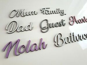 Personalised Script Names Letters Words Colours MDF Book Art Wooden Wood Wedding