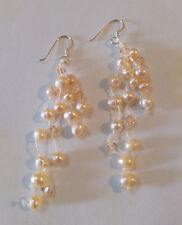 Pink Freshwater Pearl And Crystal Bead Long Strand Earrings