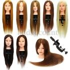 "26"" 100% Real Hair Practice Training Head Mannequin Hairdressing Doll With Clamp"