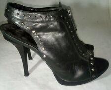 B Makowsky Stiletto Heels Studs Black 7.5 Womens Zip Front
