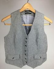 Harve Bernard Wool Grey Vest Fitted Women's Size 6 Preppy