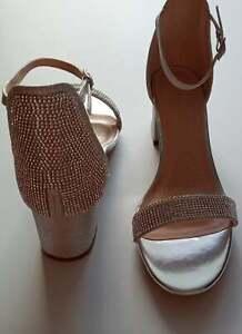 "Women's Glitter Rhinestone, Low Chunky Block Heel Sandals Ankle Strap ""Pick ""."