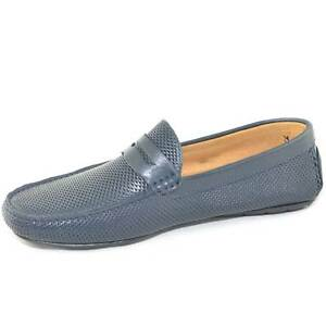 mocassino car shoes uomo blu traforato comfort man casual made in italy vera pel