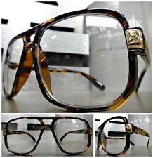 OVERSIZED CLASSIC VINTAGE RETRO Style Clear Lens EYE GLASSES Tortoise Gold Frame