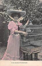 Edwardian Fancy Vintage Hat Dress Actress Miss Marie Studholme, Bird Cage
