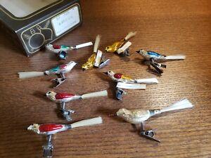 Antique Vintage Czechoslovakia Blown Mercury Glass Birds Christmas Clip Ornament
