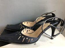 Luciano Barachini Vintage Leather Stilettos Navy Blue Italy  Size 37 RRP £79