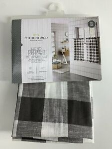 """THRESHOLD 42"""" x 36"""" Curtain Set of 2 NEW IN PACKAGE Cafe Tier Gray Check"""