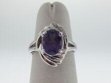 Purple Amethyst Diamonds Solid 14K White Gold Ring FREE Sizing