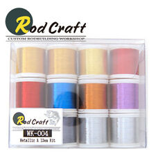 Lot of 12ea -Rodcraft Wrapping Metallic Thread A size 100yd Rod Building(WK-004)