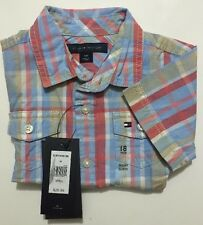 NWT Tommy Hilfiger Infant Boys Plaid Shirt Size 18M %100 Cotton Short Sleeve