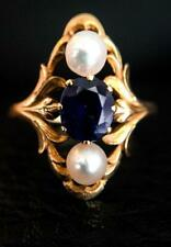 Basra pearl and sapphire ring in 14k Gold Plated