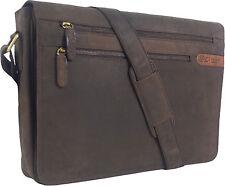 """UNICORN Réal en cuir 16.4"""" Laptop, Ordinateur Portable Sac Messager Marron #2G"""