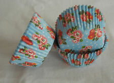 CK152 - Red flower blue cupcake liner baking paper cup muffin case free shipping