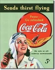 Luftsport Flieger USA Metall Deko Schild Coca Cola Werbung