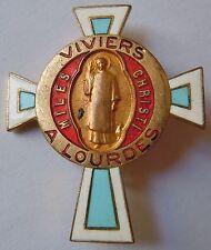 Insigne Religieux DIOCESE CATHOLIQUE VIVIERS à LOURDES  émail ancien