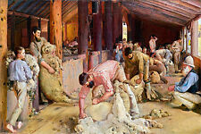 Shearing The Rams by Tom Roberts A1 High Quality Canvas Print