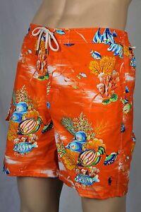 Ralph Lauren Small S Orange Tropical Swim Shorts Trunks Blue PonyNWT