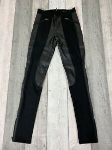 Calvin Klein Women's Black PU Panel Zipped Ankle Leggings Trousers Size 25 UK 8