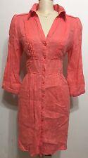 Part Two Collection 100%Linen Orange Botton Down 3/4 Sleeve Woman Dress Sz Large