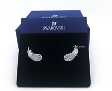 New Authentic SWAROVSKI Rhodium White Crystal Nice Feather Stud Earrings 5482912