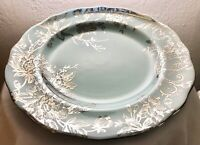 "222 Fifth Porcelain Dinner Plate Adelaide Turquoise Silver Bird Floral 11"" NEW"