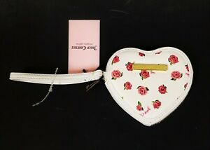NEW JUICY COUTURE WHITE,PINK ROSE PVC,GOLD ZIP,HEART SHAPED CLUTCH WRISTLET