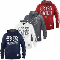 New Crosshatch Mens Pullover Print Hoodie with Sharpa Line Hood Top Sweat Shirt