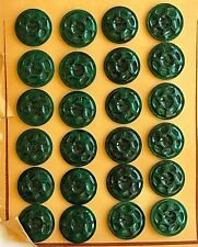 "Vintage Buttons - 24 Jade Green 4-hole Carved Dimpled Casein 7/8"" Buttons"