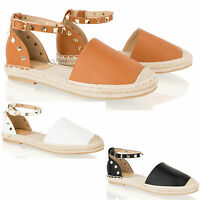 Womens Ladies Summer Flat Sandals Ankle Strap Espadrilles Studded Shoes Size 3-8
