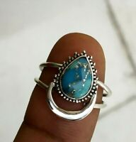 Blue Copper Turquoise Ring, Sterling Silver, Crescent Moon Ring, Split Band Ring