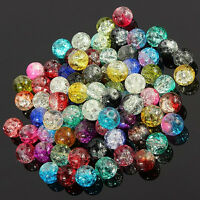 4-12mm Lots Crystal Crack Glass Round Loose Spacer Beads Charm Jewelry Making