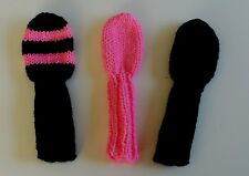 """3 Hot Pink/Black HAND KNIT GOLF CLUB HEAD-COVERS 8"""" S putter iron hybrid wedge"""
