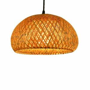Bamboo Wicker Rattan Lantern Pendant Light Fixture Hanging Ceiling Lantern Lamp