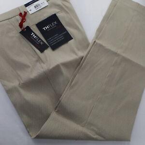 New Tommy Hilfiger Tan Check TH Flex Modern Fit Flat Front Men's Pant 36x34 AGN