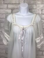 Val Mode Vintage White Bridal Sheer Chiffon Robe w/ Lavender Ribbon Women's M
