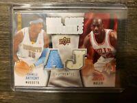 2009-10 Upper Deck Dual Game Jersey  Michael Jordan & Carmelo Anthony Jersey MT