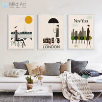 Modern London Paris City Travel Poster Nordic Home Deco Wall Art Canvas Painting