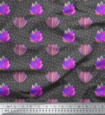 Soimoi Stoff Blätter & künstlerischer Lotus Blumen- Dekorstoff 1 Meter - FL-882E