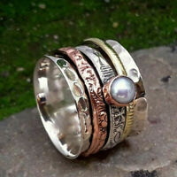 Pearl Solid 925 Sterling Silver Spinner Ring Meditation Statement Jewelry mi5218