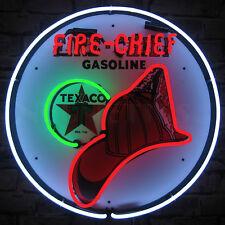 Neon sign Fire Chief Texaco Firechief Department Helmet Gas oil Globe Pump lamp