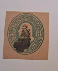 Extremely Rare Scott U171 3c Green On Fawn Postal Stationery Cut Square